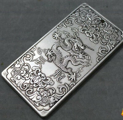 Chinese tibet Silver thanka Chinese Zodiac cLoong statue amulet Waist tag token