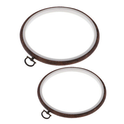 2Pcs Wooden Hoop Cross Stitch Embroidery Ring Frame Round Sewing Craft Tools