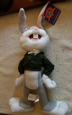 "Nanco 2001 Bugs Bunny In Army Jacket,Hat-Hanger,pose Ears 12"" Tall Plush Stuffed"