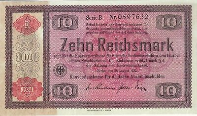 1934 10 Reichsmark Germany Currency German Banknote Note Money Bank Bill Cash