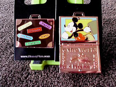 Disney * AROUND THE WORLD WITH MICKEY * Hinged Suitcase Park Stamps Trading Pin