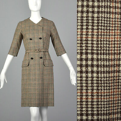 S 1950s Plaid Wool Pencil Dress Autumn Day Wear Belted Waist Double Breasted 50s