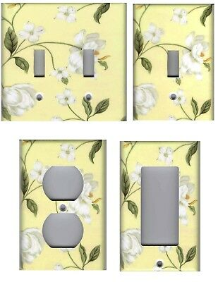 White Magnolia Flowers On Yellow Home Decor Light Switch Plates And Outlets
