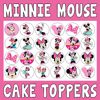 24/30/personalised  MINNIE MOUSE CUPCAKE TOPPERS - RICE PAPER BIRTHDAY CHILDREN