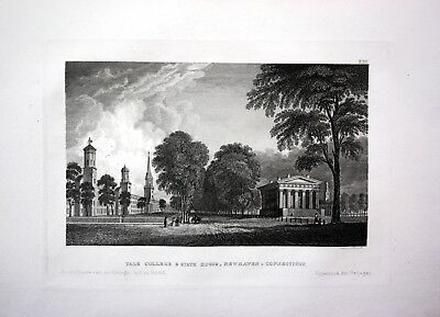 1840 - Newhaven Yale College Conneticut Amerika America engraving Stahlstich