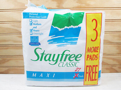 Vintage Stayfree Classic Maxi Pads Package Of 26 Medium Heavy 90s 1994