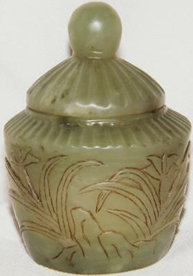 Antique NEPHRITE? CHINESE POT & LID Trinket Jar Box Tea Caddy CARVED GREEN JADE