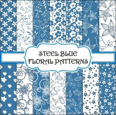 STEEL BLUE FLORAL PATTERN SCRAPBOOK PAPER - 14 x A4 pages
