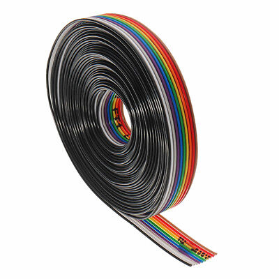 10 Way / Pin Flat Color Rainbow Ribbon Cable Wire IDC 1.27mm Pitch 5M / Lot