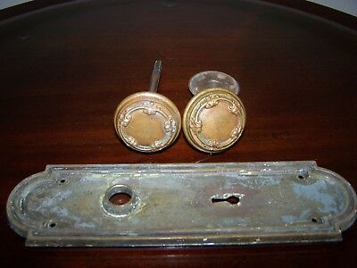 2 Lovely Antique Victorian Eastlake Ornate Brass Door Knobs & Plate GC!