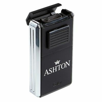 COLIBRI Ashton Astoria Triple Torch Cigar Lighter & Cutter - Chrome/Black - New