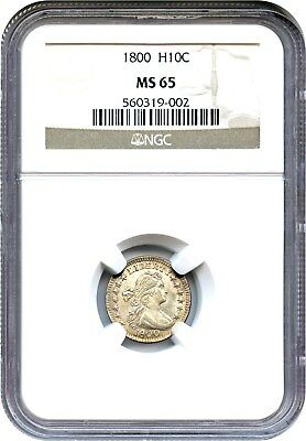 1800 H10c NGC MS65 - Lovely Early Gem - Early Half Dime - Lovely Early Gem