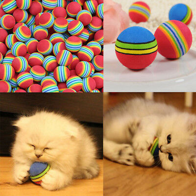 6PCS Colorful Pet Cat Kitten Soft Foam Rainbow Play Balls Funny Activity Toys U