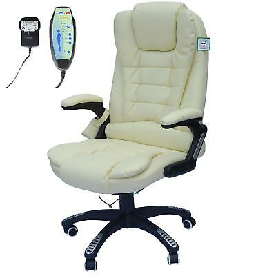 Reclining Faux Leather Office Computer Chair 6-Point Massage High Back