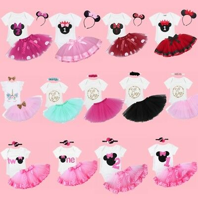 3PC Baby Girls Romper Dress Princess 1st First Birthday Tutu Skirt Outfits Party