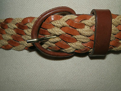 Vintage 1980's Woven Tan Leather And Jute Belt Hippy Bohemian Chic Size 12  - 14