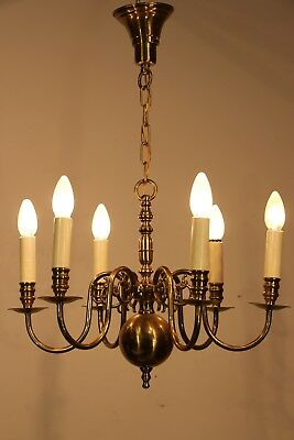 Big antique solid brass Dutch chandelier 6 arms and dragon head scrolls 1920's