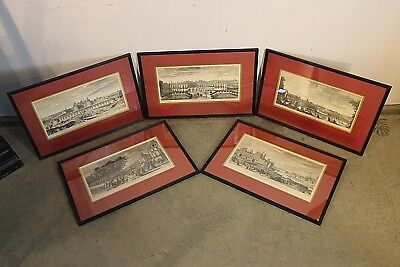 5 framed antique engravings French Royal palaces chateau J RIGAUD 18th century