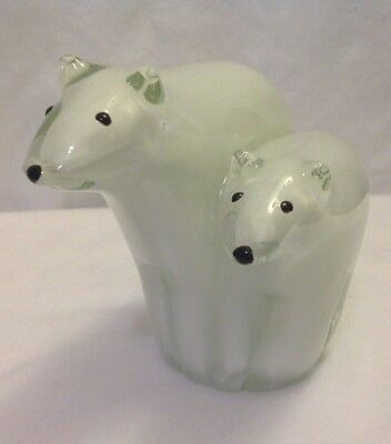 "Polar Bear Pair Paperweight Clear Glass Over White 5"" Tall Heavy 3-1/2 Pounds"