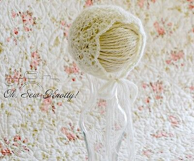 Handmade Crochet Delicate Baby Photo Prop Mohair Shell bonnet lace Many Sizes