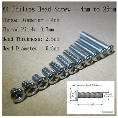 M4 Philips Head Screw - 4mm to 25mm