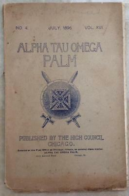 Rare Antique 19th Century 1896 fraternity book Alpha Tau Omega Palm Chicago