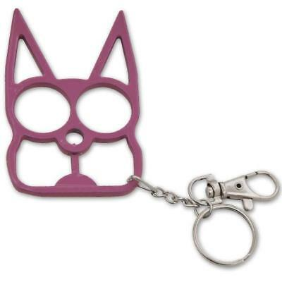 Pink Metal Cat Self Safety Security Key Chain Ring Kubaton Keychain Pointed End
