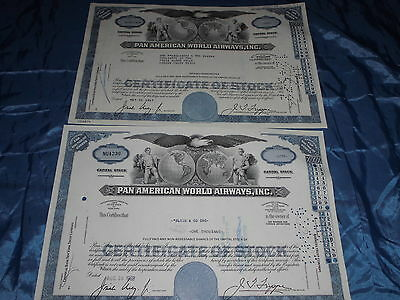 31: 2 x histor. Wertpapier / Aktie USA , PAN AMERICAN World Airways, 1967 + 1968