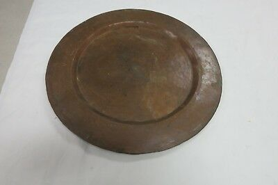 Antique Arts & Crafts  Hammered Copper Plate Tray 12""