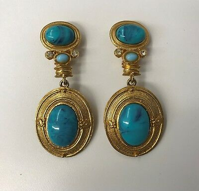 Vintage Egyptian Revival Earrings Long And Large Gold Tone Metal Faux Turquoise