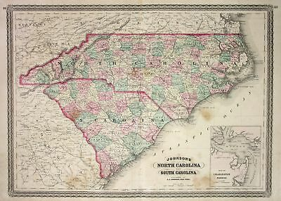 1865 NORTH CAROLINA South Carolina Johnson vintage map Karte civil ...