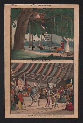 1830 - Vietnam Asia ritual India Fo natives costumes Lithograph