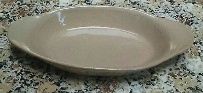 """Bybee Pottery Sand Beige 9-1/2"""" Oval Casserole Baking Dish Made in Kentucky USA"""