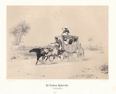1851 Kolkata India Kutsche carriage Ansicht Lithographie Thornam Kittendorff