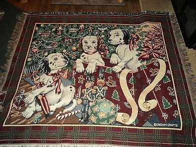 springer spaniel,brittany spaniel puppies for christmas afghan/throw/tapestry