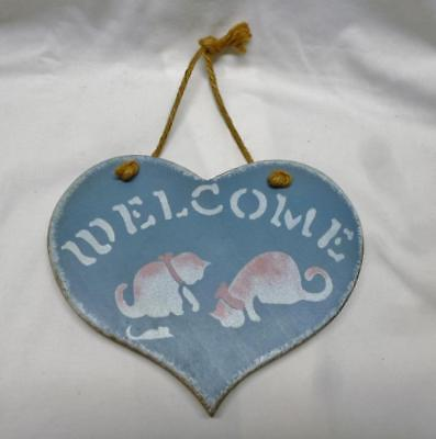"""Cute Hand Painted Blue Heart Shaped Wood Cat Plaque That Says """"Welcome""""."""