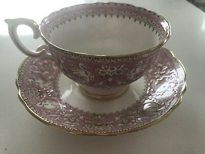 ELLESMERE ROYAL CROWN STAFFORDSHIRE BONE CHINA CUP & SAUCER PINK and WHITE BIRD