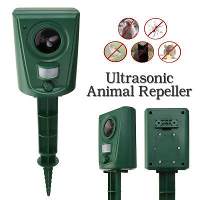 IPX4 Ultrasonic Animal Repellent Repeller PIR Motion Sensor LED Bird Cat Dog Bat