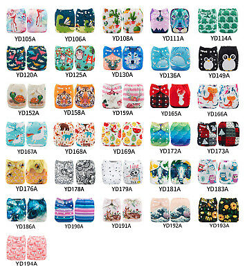 ALVABABY Reusable Cloth Diapers One Size Washable Pocket Nappies With Inserts