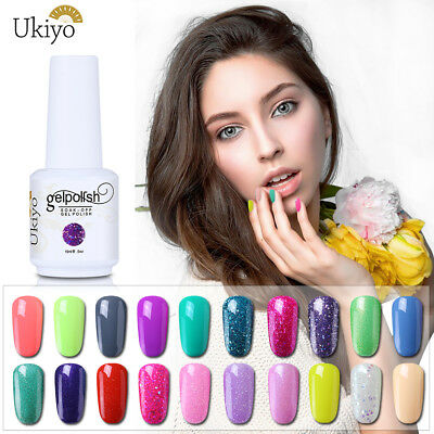 Ukiyo 15ML UV LED Soak Off Gel Polish Candy Color No Wipe Top Base Coat