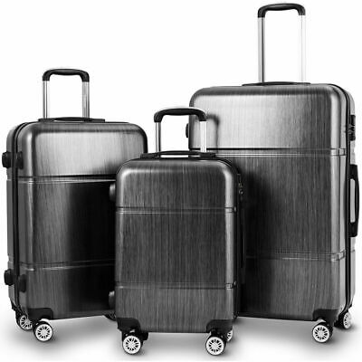 "GLOBALWAY 3Pc Luggage Set 20"" 24"" 28"" Trolley Suitcase ABS+PC Spinner w/TSA Lock"