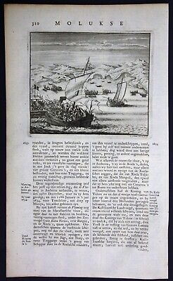 1726 Maluku islands Moluccas Indonesia ships ship Valentijn engraving