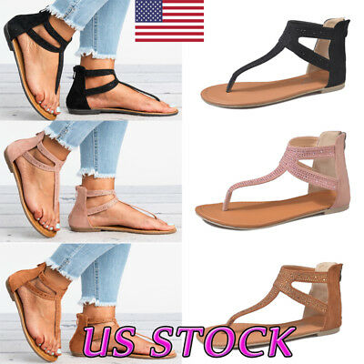 24a240a35c6 Women s Roman Gladiator Rhinestone Flats Sandals Back Zipper T-Strap Shoes  Size
