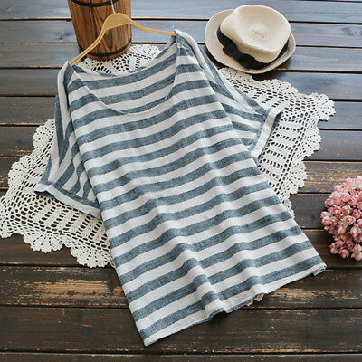 UK 8-24 ZANZEA Women Summer Round Neck Striped Short Sleeve T Shirt Tops Blouses