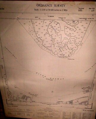 "Rochester Chatham Kent:50"" Scale Os Map:docks,jetties,wharves:medway Saltmarshes"