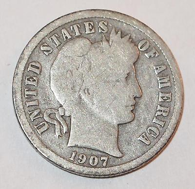 1907 BARBER LIBERTY HEAD Dime 10 Cents Ten Cent 90% Silver Coin