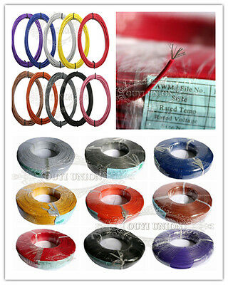 UL1007 1-Pin 30AWG 16AWG 10Meter Cable Cord Stranded Flexible Hookup Wire Strip