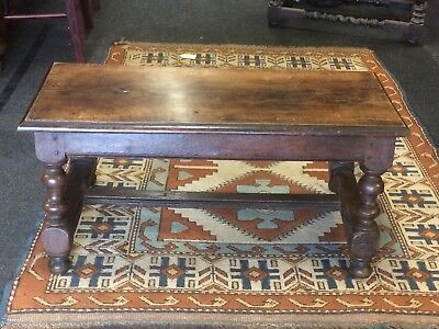 Antique Dutch Wooden 17th Century Oak Small Bench With Later Top