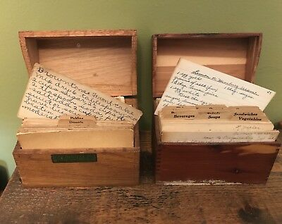 2 Vintage Wood Recipe Boxes with Handwritten Cards and Clipped Recipes Lot