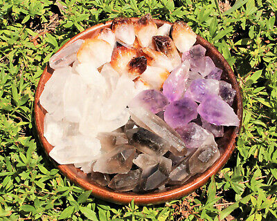 1/4 lb Bulk Mix Amethyst + Citrine + Smokey + Clear Quartz Crystal Points (4 oz)